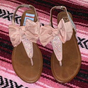 NWT Light Pink Tan Sandals Bows Rhinestones